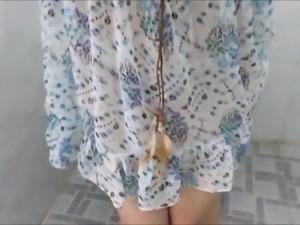 Asian girlfriend wet and wanking in toilet