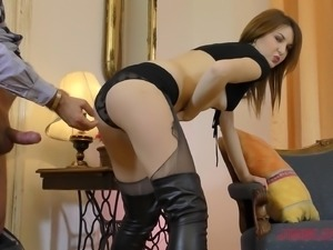Allegra in pantyhose enjoying monster cock hardcore