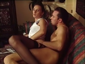 Lean and naughty white brunette assfucked in sideways position