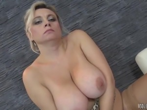 Horny and heading into her fifties, this hot blonde new granny gets off
