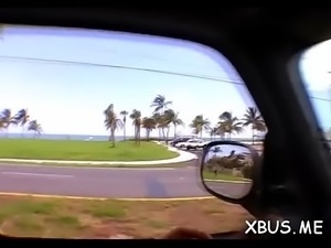 Bawdy sex in a car with a slut