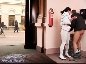 Horny couple doing real anal sex on public street
