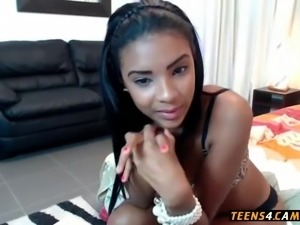 Lovely Ebony teen dancing and teasing on webcam