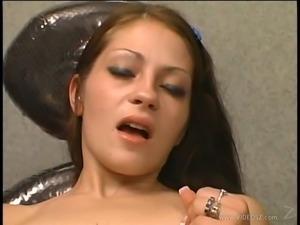 Tantalizing cowgirl rides a sex machine hardcore in solo masturbation clip