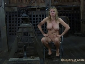 Crucified big tits slave face fucked roughly in BDSM