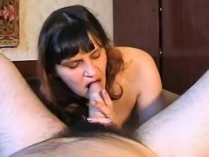 Mature babe gives sexy close up POV blowjob