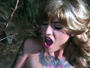 Giddy bdsm fetish babe getting drilled with pussy insertions outdoors