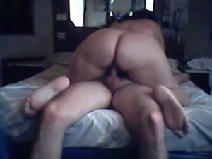 Obese and huge bottomed bitch was busy with riding a stiff cock