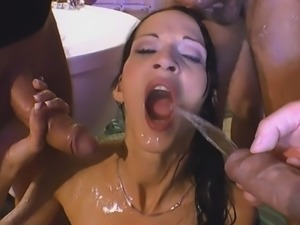 European Babe Gets Warm Golden Shower In Gang Bang
