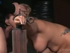 Big breasted blondie Angel Allwood has to be submissive today during MMF