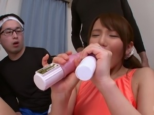 Ayumi Takanashi masturbates in front of a bunch of randy men