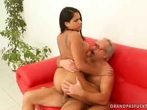 Steamy Latina chica is getting banged bad in old young fuck scene