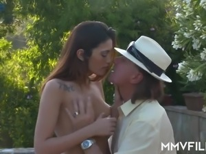 Penelope Cum gets fucked in the sensual way by winemaker near the pool