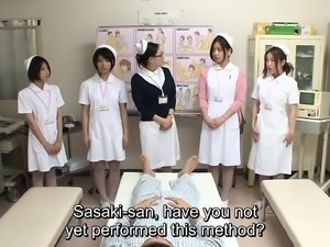JAV CMNF group of nurses strip naked for patient Subtitled