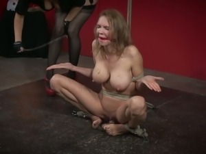 Breast bondage practice and some masturbation with filth Rain DeGrey