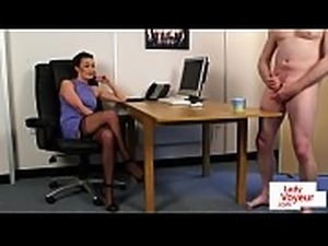 British boss voyeur commanding her sub to tug