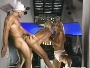 Hot and naughty blonde ladies having nice FFM threesome