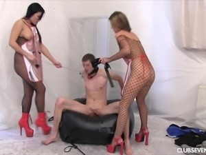 Victoria Blaze and Jeanine B are hot mistresses who want to seduce a hunk
