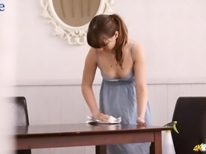 Sexy hottie with puffy nipples Helen White is dusting the table