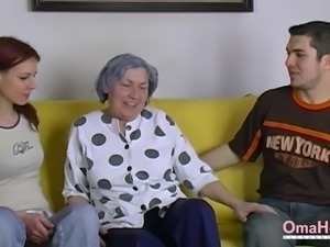 Naked couple and horny grandma playing and masturbating with sex toys
