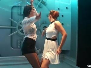 Natural tits lesbian dancing erotic in alluring shoot