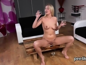 Adorable cutie is pissing and rubbing bald snatch54rKj