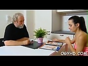 Nasty old guy fucks young face hole