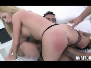 Amazing Whore Takes 3 Dicks Inside Her Asshole