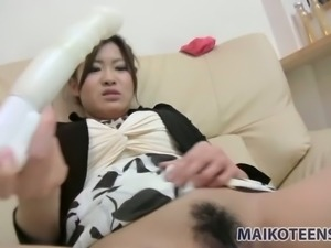 Hitomi Aoshima only gets off to her plastic sex toys and she's nasty AF