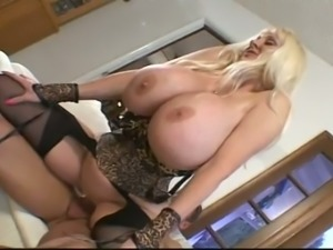 Damn busty blonde whore in nylon stockings gonna be fucked from behind