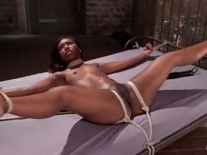 Lying with legs spread apart submissive Chanell Heart gets twat fingered