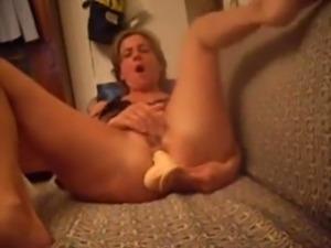 Horny mature aunt masturbating anally with big sex toys