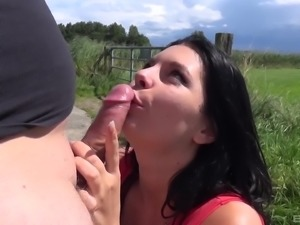 Brunette lady in trouble spreads her legs for a rod on a hood of a car