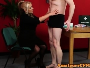 Uk CFNM milf fingers ass while tugging dick