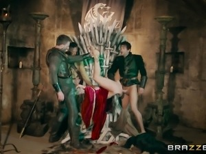 Rebecca More and Ella Hughes enjoy fucking on the iron throne