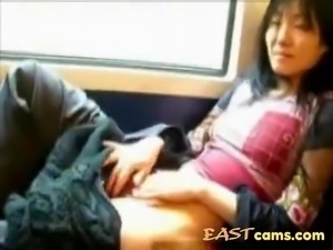 Asian bitch in bus