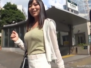 Cute Japanese chick seduced by a pussy craving stranger