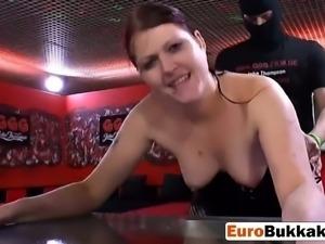 This piss loving Euro slut is sucking my black schlong like crazy