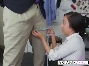 A slutty small tit Asian chick gets her tight ass and hungry mouth fucked by...