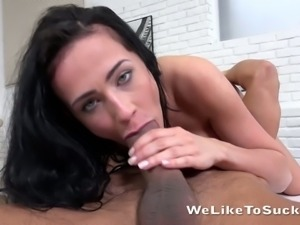 Busty sexy girl Nicol-Love keeps on sucking massive cock in the kitchen