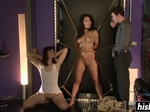 Two beautiful babes enjoy being tied up while experiencing hardcore pleasures...
