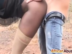 Ebony chick pounded with fat dick