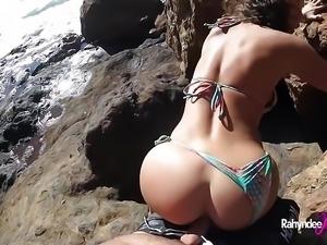 Rahyndee James nude beach fucking POV