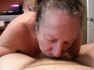 Horny granny sucking my dick deepthroat and then she rides hard dick on top