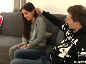 Gorgeous girlfriend Amanda Estela wants to feel a hunk's cock