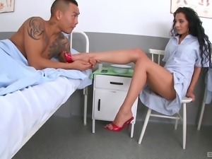 Janet Joy is a cock craving nurse ready for an erected boner