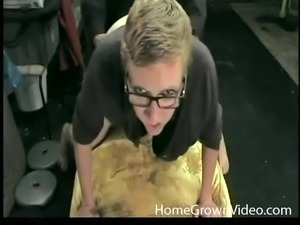 Blonde nerd blows the police officer and bends over for his dick