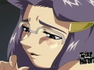 Purple haired beauty in glasses gets her hentai cunt fucked doggy