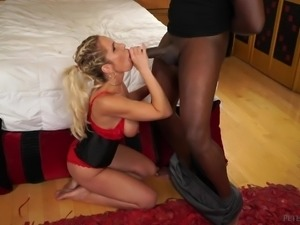 She is blonde horny and filled up with cum. Who put all of the spunk inside...