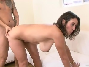 Stunning milf gets cum on her tits after getting pounded hardcore